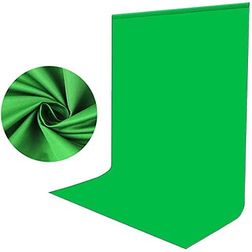 Sfondo Verde Foto Video 1,5 x 2m, Bonvvie Sfondo Fotografico Resistente Alle Rughe, Lavabile Greenscreen Mussola Chromakey per Studio Fotografia, Televisione, Zoom,...
