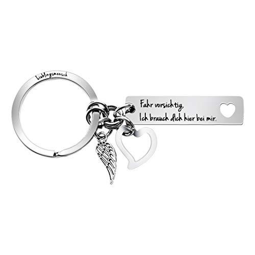 L&H Gadgets Drive Safe Schlüsselanhänger - Fahr Vorsichtig, Ich brauch Dich Hier bei Mir   Drive Safe I Need You Here with Me   Geschenk zum Neuen Auto Schlüsselanhänger Männer Baum des Lebens (Engel)