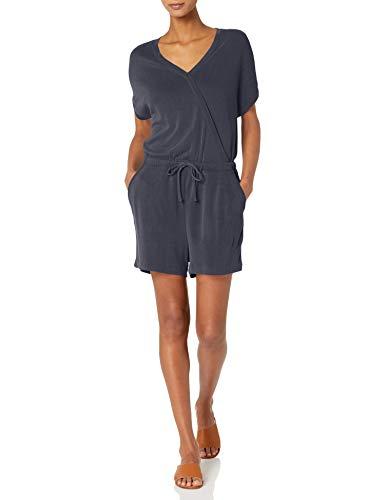 Daily Ritual Sandwashed Modal Blend Short-Sleeve Overlap Romper Shorts, Dainty, US M (EU M-L)