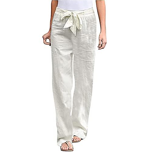 Blivener Linen Pants for Women Elastic Waist with Belt Summer Casual Cotton Pants White