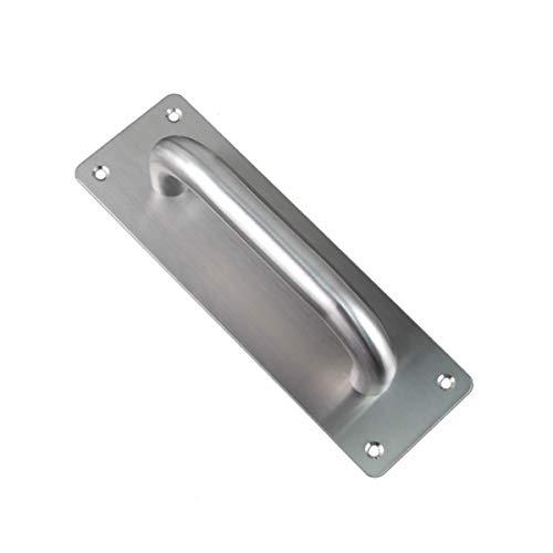 Manija de puerta corredera cuadrada de acero inoxidable con tornillos, manija de puerta de inodoro, placa de madera para armario (200 x 65 mm)