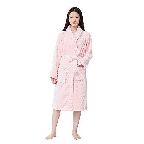 LHK Bademantel rosa Punkt Nachthemd Lange Pyjamas Flanell Nachthemd Lange warme Kleidung zu Hause-Pink_L