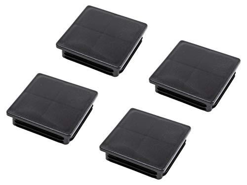 Gedotec PE Rohrstopfen Fußkappen schwarz aus Kunststoff für Vierkantrohr | Formrohr-Stopfen quadratisch | Lamellenstopfen 80 x 80 mm | MADE IN GERMANY | 4 Stück - Abdeckkappen für Quadratrohr