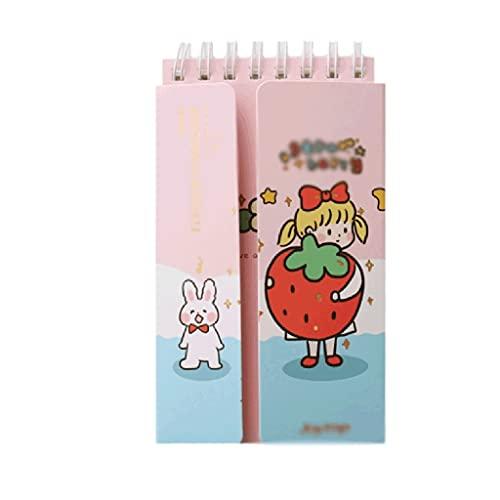 ZAZA Cuaderno Diario Bobina Cuaderno Lindo Diario De Fresa Planificador Portátil Cuadrícula Página Interior Bloc De Notas Libro De Palabras Cuadernos para Mujeres (Color : Pink-Blue)