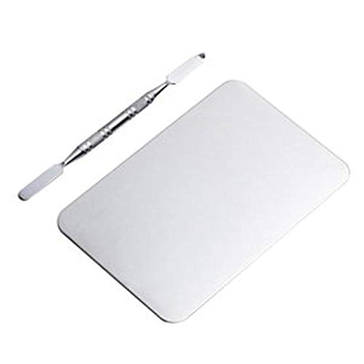 支払い静かな再生可能サロン マニキュア カラーパレット メイクアップクリームファンデーションミキシングパレット 化粧品メイクアップツール ステンレス鋼板(115x75MM) (Color : Nonporous)