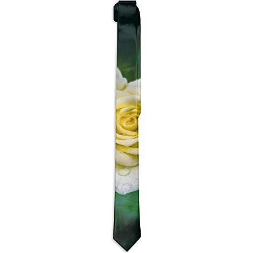 Corbata de poliéster con gotas de flor rosa amarilla, corbatas clási