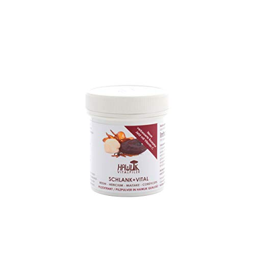 Hawlik Vitalpilze - Schlank + Vital Vitalpilzmischung - 90 Kapseln - Reishi Pulver - Hericium Pulver - Maitake Pulver - Cordyceps Extrakt