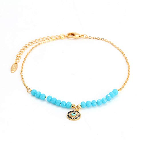 CHIY-GBC Lucky Eye Crystal Beads Anklet Evil Eye Charm Bracelet Gold Color Chain Ankle Bracelet for Women Female Fashion Jewelry