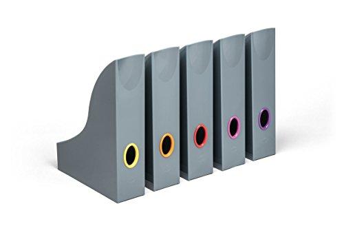 Durable 770657 Varicolor Stehsammler Set (anthrazit mit farbigen Grifflöchern) 5 Stück