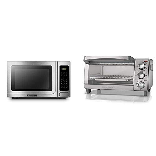 BLACK+DECKER Microwave Oven, 1000W,1.4 cu.ft,Stainless Steel & 4-Slice Toaster Oven with Natural Convection, Stainless Steel, TO1760SS