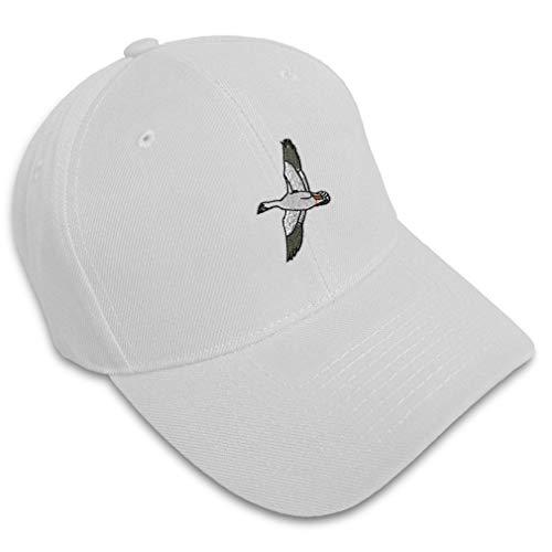 Baseball Cap Snow Goose Embroidery Animals Birds Acrylic Hats for Men & Women Strap Closure White Design Only