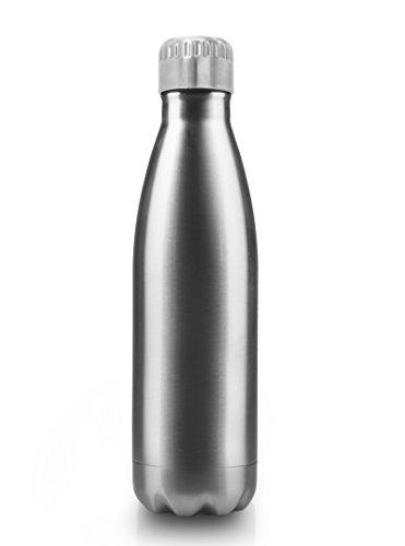 MyGadget Borraccia Termica 500 ml - Acciaio Inossidabile con Doppia Parete - Refrigerante 24h Acqua / Latte Thermos Isotermica 12h - Bottiglia 0, 5L - Argento