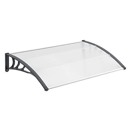 [en.casa] Marquesina para Puertas 150 x 100 cm Tejadillo de Protección de ABS Techo para Jardín Terraza Patio Balcón Parasoles Sombrilla Exterior Gris y Transparente