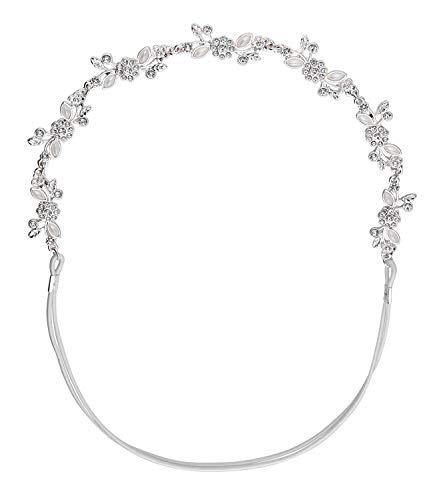 SIX Haarband mit elastischem Band, Blumen und Strasssteinen und Zierperlen, modisches Accessoire (456-887)