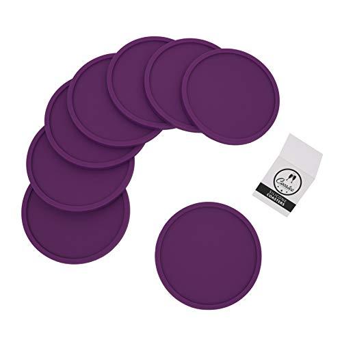 Coastee sottobicchieri in silicone, 8pezzi, nero, per bar, soggiorno, cucina viola.
