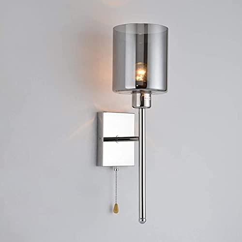 JeeKoudy Apliques de Pared Modernos Apliques de lámpara de Pared de Acero Inoxidable para Interiores con Interruptor de Tiro E14 Simplicidad Forma Redonda Pantalla de Vidrio Ahumado Balcón Li