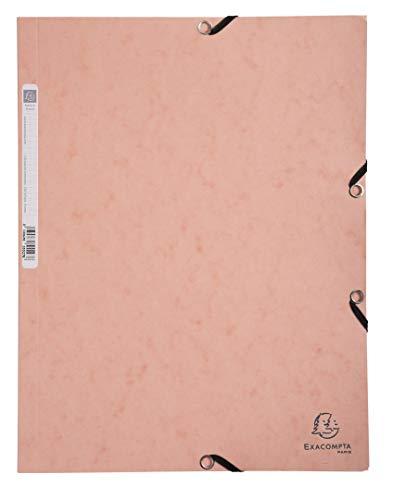 Exacompta 55527E Aquarel - Carpeta de gomas con 3 solapas en cartulina brillante, 400 g/m2, color coral