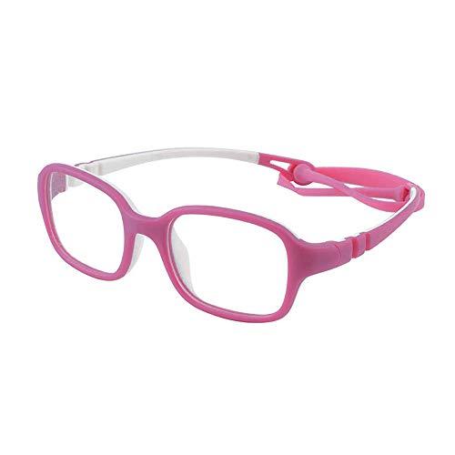 Kinder Kids Brille Teenager biegsam schick Gestell Rahmen Fassung klar, eckig Gläser für Mädchen Jungen (Alter2-5 Jahre) (Wk11c5 Pink)