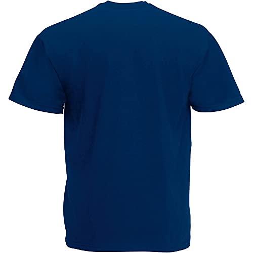 Fruit Of The Loom - Camiseta para hombre, manga corta, cuello de pico azul (azul marino) Large