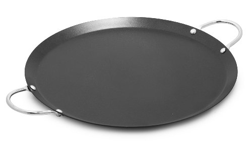 """IMUSA USA IMU-52014 11"""" Nonstick Carbon Steel Small Round Comal with Metal Handles, Black/Aluminum"""