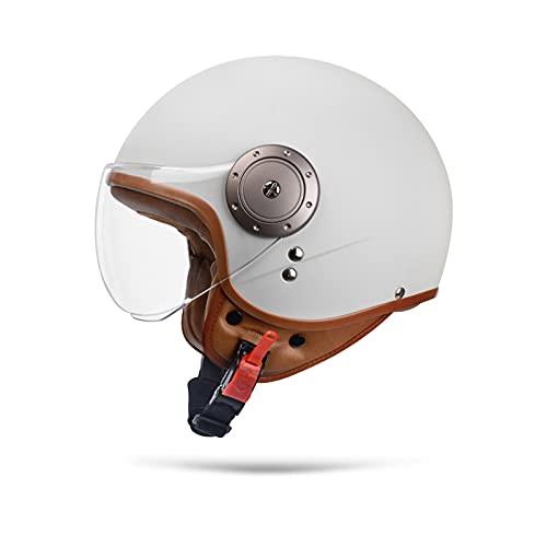 Boseman Cascos De Motocicleta para Hombres y Mujeres, Cascos De Ciclomotor con Viseras.El Cabezal Anticolisión Protege La Seguridad Vial De Los Usuarios(Blanco)