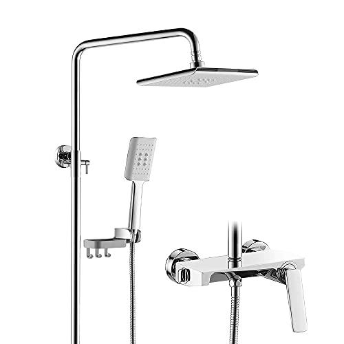 Conjunto de grifos de ducha con ducha fija ajustable y ducha de mano de 3 funciones, varilla de elevación ajustable de altura, válvula de mezcla de cobre, sistema de ducha montado en pared, interrupto