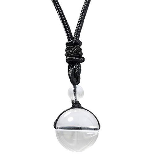 KYEYGWO - Collana con ciondolo a forma di palla di pietra naturale, regolabile, per uomo e donna, colore: cristallo di rocca, cod. ZQBAGA0002708