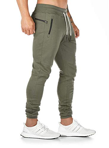 Ehpow Herren Jogginghose Sporthose Baumwolle Fitness Slim Fit Trainingshose Freizeithose Joggers Sweathose Streetwear (S-grün, X-Large)