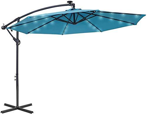YRRA 10FT Patio Solar Patio Offset Umbrella 32 LED Paraguas Colgantes iluminados con 8 Costillas Hierbas Impermeables con Dosel Turquesa JU-34Q-LED-Turquesa