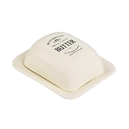 BUTLERS Mrs. Winterbottom's Butterdose in Vintage Weiß - Vorratsdose aus Steingut - stilvolle, klassische Aufbewahrung