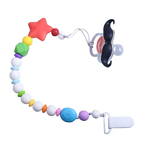 YAPROMO Funny Mustache Silicone Pacifiers Anti-Drop Clip for Babies, BPA Free, Latex Free