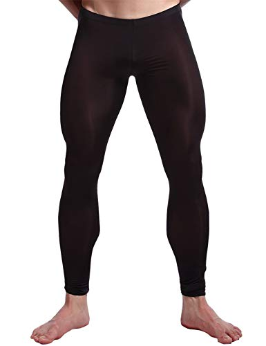 iEFiEL Herren Strumpfhose Leggings Hose Tights sexy Transparent Unterwäsche Strumpfhose Lange Pantyhose Schwarz XL