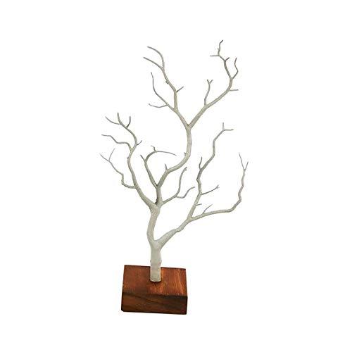 FITYLE Soporte Decorativo del Collar de la Pulsera del diseño del árbol de la Astilla del venado/Bandeja del Soporte del Organizador de la joyería (Blanco)