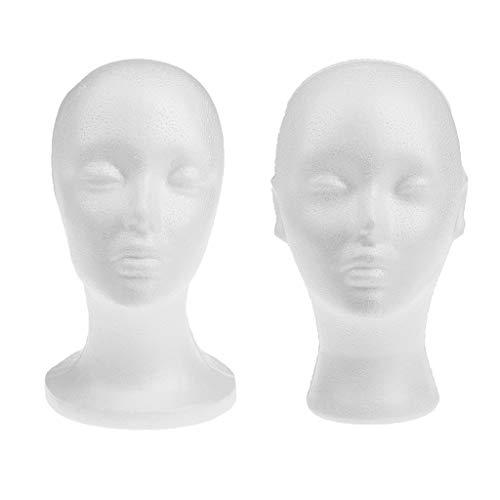 2er Pack Weibliche Kopf Modell Perücke Haar Hut Display Styropor Schaum Mannequin Puppe 260 x 190 x 105 mm