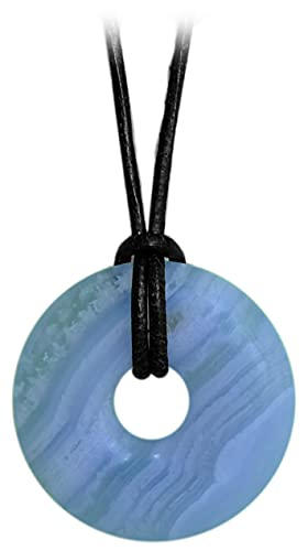 Kaltner Präsente Idea de regalo – Cadena de piel para hombre y mujer con colgante de donut de piedra preciosa shungita (30 mm de diámetro).