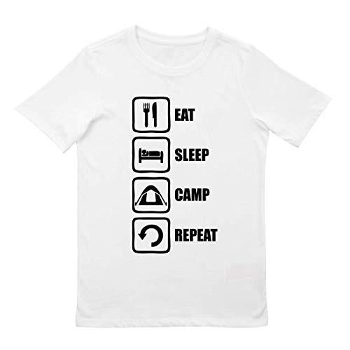 Eat Sleep Camp Repeat Slogan Blanc Tee Shirt Enfant Unisexe S