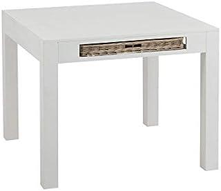 Tousmesmeubles Table de Repas carrée et 1 Panier en rotin - Marin - L 100 x l 100 x H 80 - Neuf