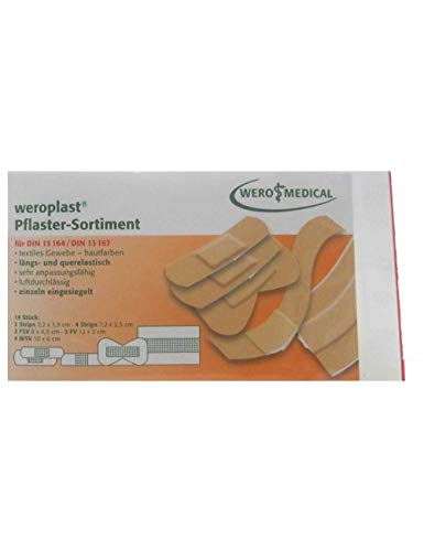 weroplast Pflaster-Sortiment DIN 13164/13167 (14 Stk/Pkg) | Wundpflaster | Pflasterset