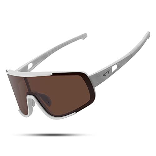 Gafas de sol deportivas polarizadas UV400 con marco TR90 para hombres y mujeres, diseño retro, gran vista MTB Road Bike Gafas de béisbol Running Ciclismo Gafas (blanco marrón)