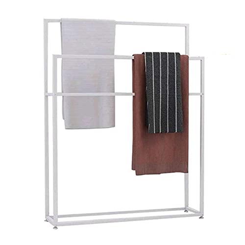 MRTYU-UY Toallero de pie para baño, soporte de barra de toalla de metal de 2 niveles con 4 barras, toalla de baño, soporte de valet, resistente, resistente y resistente al óxido
