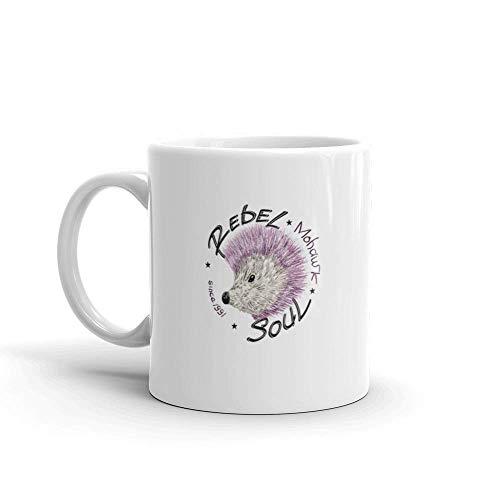 Dozili Grappige Koffiemok - Slogan met Egel Mohawk Koele Truien Keramische Koffiemok Beker, 11 Oz, Wit