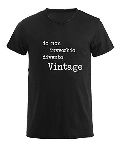 T-Shirt Uomo Girocollo Taglio Vivo 100% Cotone Pettinato Fiammato - IO Non INVECCHIO DIVENTO Vintage- Made in Italy (XL, Nero)
