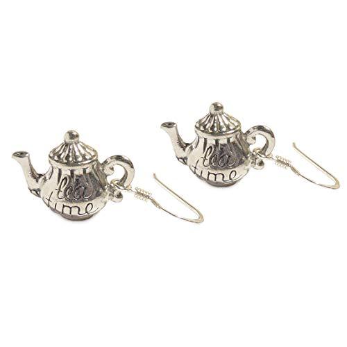 LunarraStar Damen Alice im Wunderland Teekanne Tea Time Ohrringe aus 925 Sterlingsilber Dorchbohrt