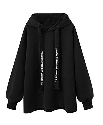 Simple-Fashion Primavera e Autunno Donne Taglie Forti Felpe con Cappuccio Casual Hoodie Cime Jumper Bluse Giovane Moda Maglie a Manica Lunga Sweatshirt Maglione Tops Pullover