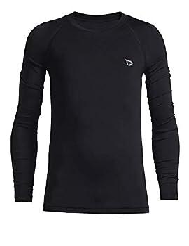 BALEAF Boys  & Girls  Youth Compression Shirts Long Sleeve Undershirts Performance Baselayer Black Size M