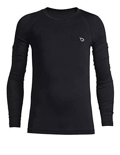 BALEAF Boys  & Girls  Youth Compression Shirts Long Sleeve Undershirts Performance Baselayer Black Size S