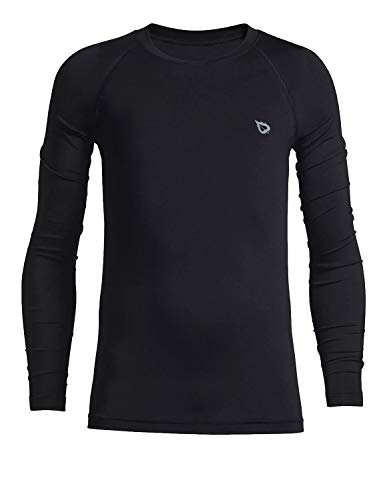 BALEAF Boys' & Girls' Youth Compression Shirts Long Sleeve Undershirts Performance Baselayer Black Size M