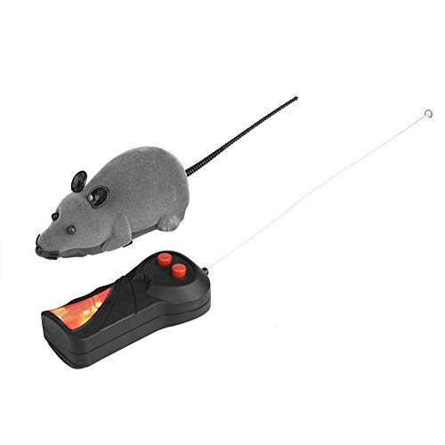 HEEPDD Drahtlose Fernbedienung Maus, Hohe Simulation Gefälschte Ratte Mäuse RC Spielzeug Katze Spielen Kauen Spielzeug für Katzen Kitty Kitten Neuheit Geschenk (Batterie Nicht enthalten) (Grau)