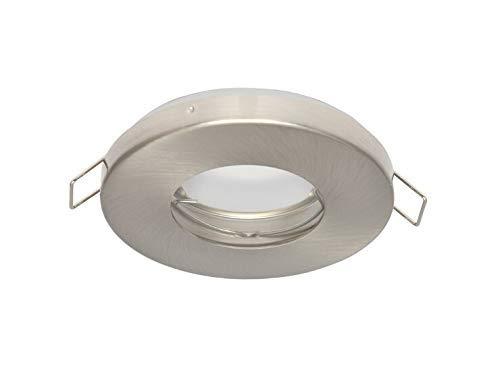 Vochtige ruimte Slim IP20/44 inbouwspot GU10 inbouwframe downlight waterdicht Ø70mm boorgat aluminium incl. GU10 fitting voor LED-lampen, rond, satijn