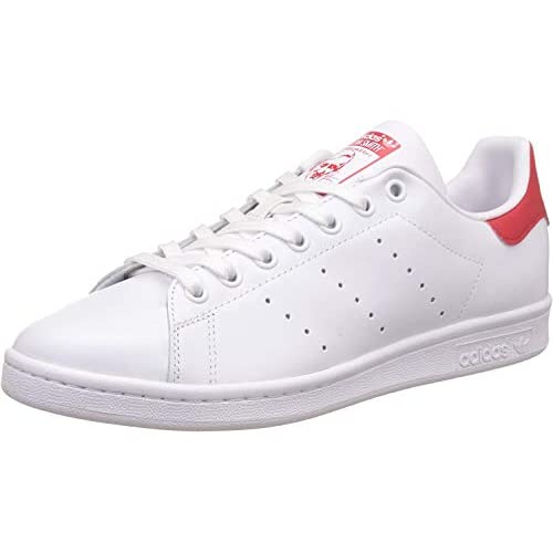 Adidas Originals Stan Smith, Sneaker Basse Unisex – Adulto, Bianco (Running White Ftw/Running White Ftw/Collegiate Red), 46 EU